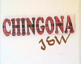 CHINGONA Plaid Vinyl Decal Car Decal Wall Decor Sticker 5""