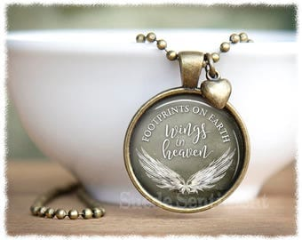 Remembrance Necklace • Bereavement Jewelry • Footprints On Earth • Loss of Child • Memorial Jewelry • Angel Wings Pendant