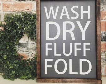 wash dry fluff fold painted solid wood sign