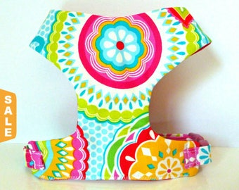 """Puppy Love Sale - 40% Off Multi Floral Soft Comfort Dog Harness """"Ashley"""" - Soft on Your Dogs Skin"""