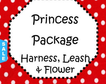 Sale - 40% Off Traditional or Step-In Harness, 6 FT Leash Package & Flower (Bow)! Dog Harness Set