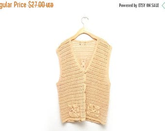 ON SALE 90s Crocheted Brown Vest Sleeveless Top Women's XL