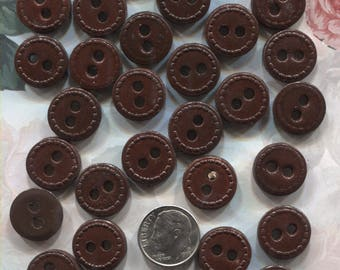 28 Brown Leather Buttons- Hemisphere Co.- ( 5/8 inch)-Item# 143