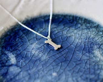 Dog Charm Necklace - Dog Lover Gift - Silver Dog Bone - Charm Necklace - Dog Charm - Dog Bone - Dog Owner Gift - Sterling Silver Dog Tag
