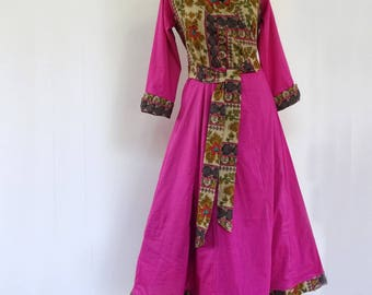 Dress hide cotton heart dress-light fuchsia and floral print