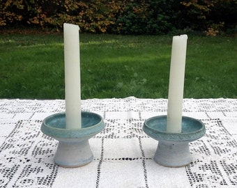 17% OFF SALE Conwy Pottery/Welsh Candle Holders/Celtic Candlestick Holders/Art Pottery Candleholders/Short Ceramic Candle Holders/Altar Cand