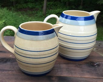 Pitchers Jugs Mintons Made In England Earthenware Staffordshire China Royal Doulton Laurel Leaves Ewer Water Jug Striped Blue Cream Pair
