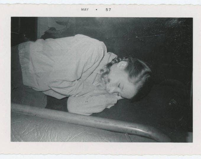 Vintage Snapshot Photo: Girl Sleeping, 1957 (78602)
