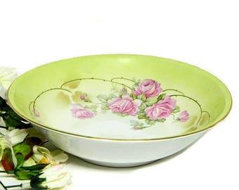Antique German Serving Bowl Pink Roses on Green