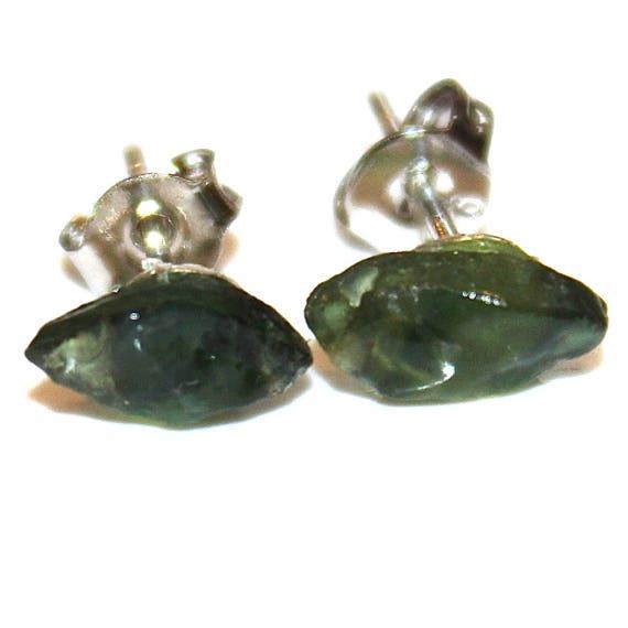 Raw Green Sapphire Stud Earring