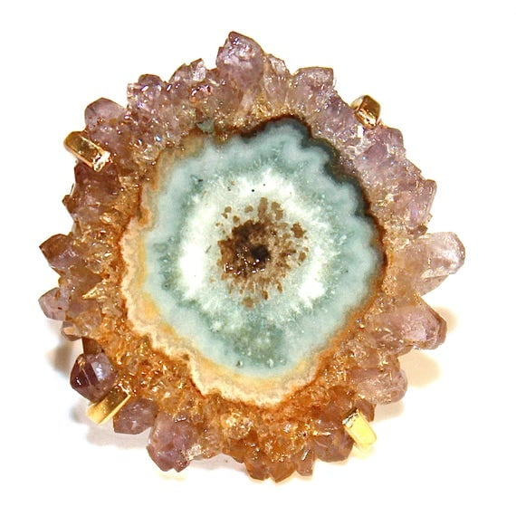 Golden Amethyst Stalactite Ring