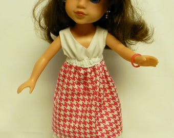 Wellie Wishers Like Pink Houndstooth Print Dress For 14.5 Inch Doll
