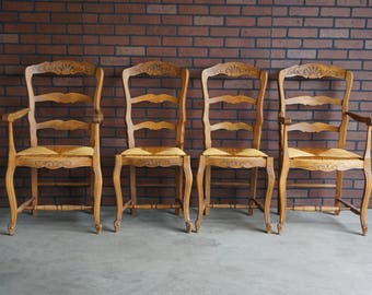 French Antique Dining Chairs / Dining Arm Chairs / Ladderback Dining Chairs ~ Set of 4