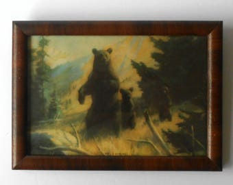 Antique Framed Bear Picture Who's Coming? Rolph Clark Stone Co Lithograph Fathers Day gift