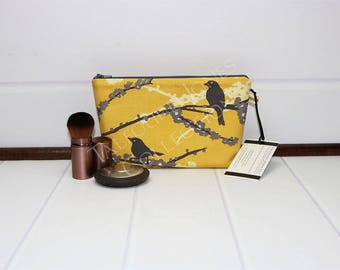 Small Makeup Bag - Bird Cosmetic Pouch - Cosmetic Bag - Zipper Makeup Pouch - Yellow Makeup Bag - Joel Dewberry Aviary 2 - Gift for Her