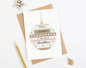 Personalised Christmas Card - daughter friend granddaughter - Pink Mint Bauble