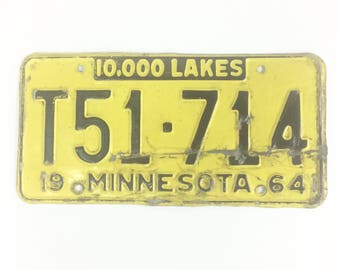 Vintage MN License Plate,Distressed Plate,Yellow and Black Plate, Minnesota Decor,Man Cave Decor,Rustic Home Decor,Car Guy Gift,License Tag
