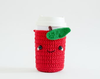 Crochet Cozy Cup - The Red Apple / Coffee Cozy, Coffee Warmer, Tea or Coffee Lover Gift, Coffee Sleeve, Starbuck.