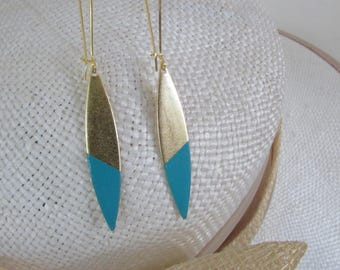 Sequin earring Turquoise and gold