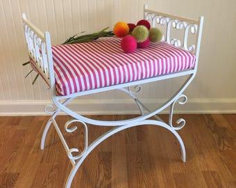 WHITE VANITY BENCH, White Vanity Stool, Steel, Upholstered Cushion, Pink & White, Regency, Cottage Chic, Palm Beach Chic at Ageless Alchemy