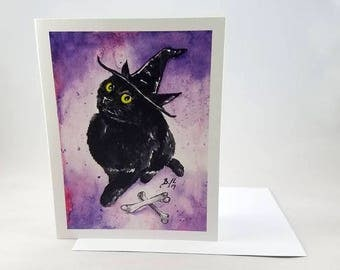 Catwitch II - 4x6 Black Cat Note Card