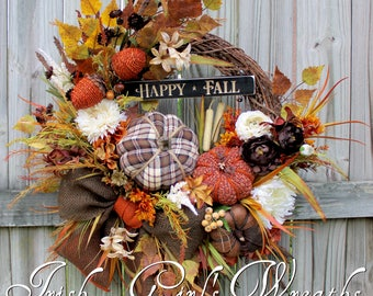 Large Happy Fall Tweed Pumpkin Wreath, Leather Pumpkin, Rustic Autumn Floral Decor, brown rust cream