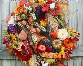 Elegant Fall Cornucopia Wreath, Large Autumn Bounty Thanksgiving Harvest Wreath, Copper, purple, pumpkins, sunflower, Floral Door Hanging