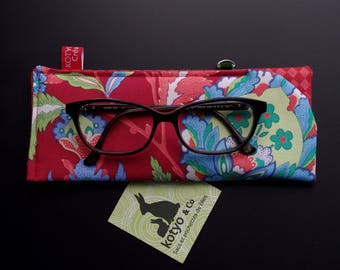 A glasses case is padded, green, blue, red floral Iznik.