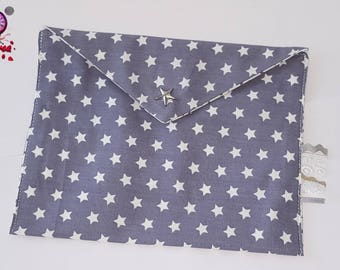 flat clutch cotton snap closure