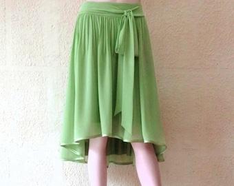 Sage Green High Low Skirt. Sage Green Bridesmaid Skirt. Chiffon Evening Skirt.