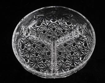 Indiana Glass Clear Daisy and Button 3 Part Relish Dish | Vintage Glass Relish Tray | Mid Century | Divided Serving Dish | Vintage 1950s