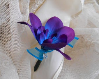 Blue Purple Dendrobium  Silk Orchid Boutonierre