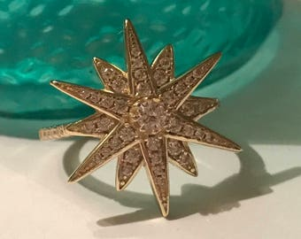Vintage star ring sterling silver with gold wash and rhinestones