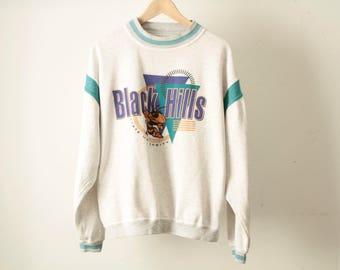 vintage HEATHER grey & teal BLACK HILLS slouchy faded 90s sweatshirt top pullover crewneck sweatshirt