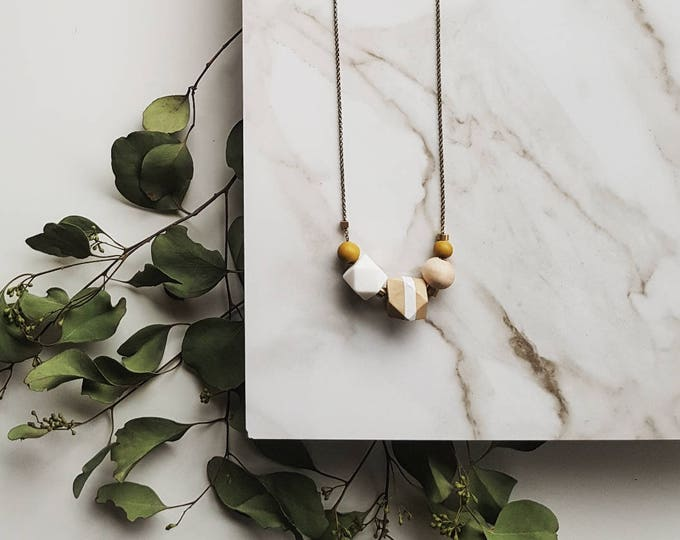Featured listing image: Evie Necklace | Geometric beads | Ochre & White