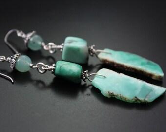 Chrysoprase gemstone slice earrings - aqua green long earrings - boho sterling silver earrings - hippie chic festival earrings - wire wrap