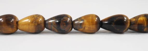 "Tiger's Eye Teardrop Beads 12x8mm (8x12mm) Tiger Eye Stone Beads, Brown Gemstone Beads, Stone Drop Beads on a 7 1/2"" Strand with 16 Beads"