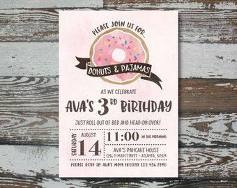 Donut and Pajamas Birthday Invitation - Custom Printable