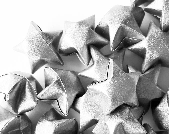50 metallic silver paper origami stars without quotes- Spring - wedding decor - wedding favour - custom