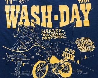 Vintage Harley Davidson Montréal Wash Day 90s bike wash classic shirt