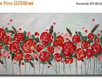 SALE Original Coral Flowers Acrylic   Impasto   Palette Knife  Painting  Roses Painting. Size 48 x 24
