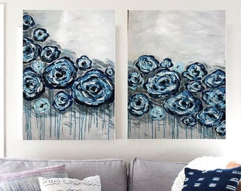 SALE Original Modern  Blue Navy  Gray  Flowers  Heavy  Impasto  Texture  Palette Knife Acrylic   Paintings. Made2Order.