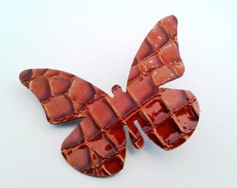 brooch Butterfly whiskey croco imitation leather varnished