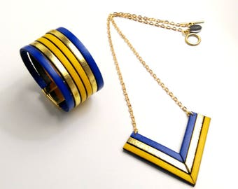 Leather set blue, gold and yellow