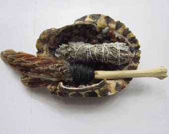 Smudge Kit Red Slider Turtle Shell Encrusted in Gemstones w/ Pheasant & Coyote Bone Feather Fan Smudging Tribal