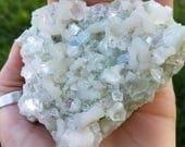 Apophyllite and Green Stilbite Crystal Cluster Specimen
