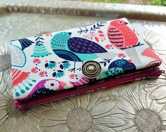 Women's Wallet, Blue Birdie Wallet, Clutch