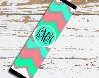 Monogram chevron seat belt pad, Turquoise car decor, Personalized auto accessories, Chevron in blue, turquoise pink, Gifts for girls (9984)