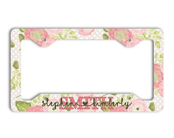 Family name heart font, Personalized floral license plate cover or frame, Pink and green auto accessories, Unique engagement gift (1759)