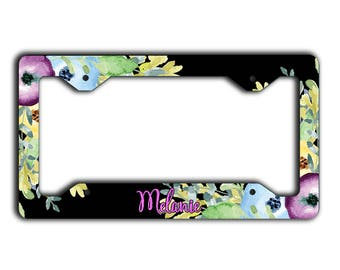Purple and black car decor, Personalized Classy license plate cover, Floral accessories, Faux pink foil font Gifts for new car driver (1803)